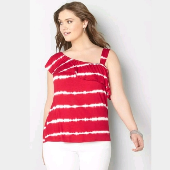 02d0e16b7d1 Avenue T Shirt One Shoulder Top Tie Dye Plus Size NWT